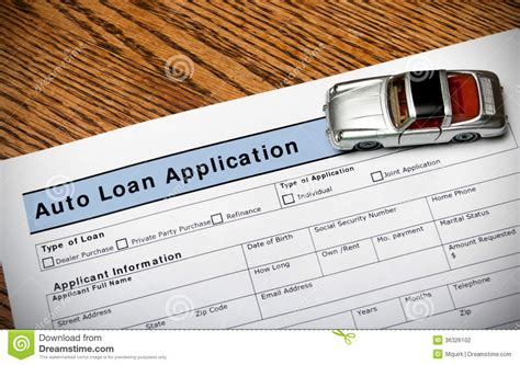 car application auto loan application stock photography image 36326102