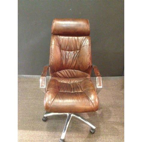 chaise de bureau antique chaise de bureau vintage en cuir marron achat vente