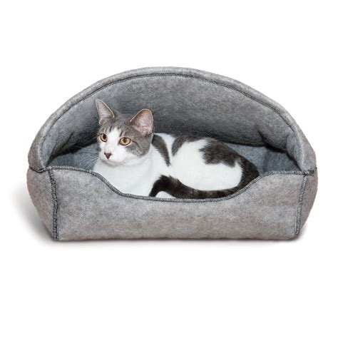 petco cat beds k h gray amazin hooded cat lounger petco