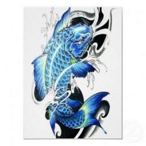 blue dragon fish tattoo design sample