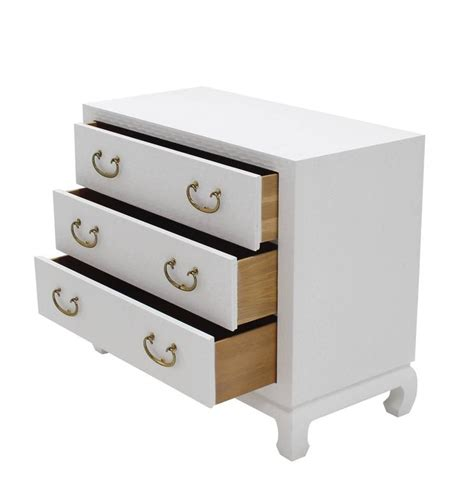 baker three drawer white lacquer cloth cabinet brass pulls