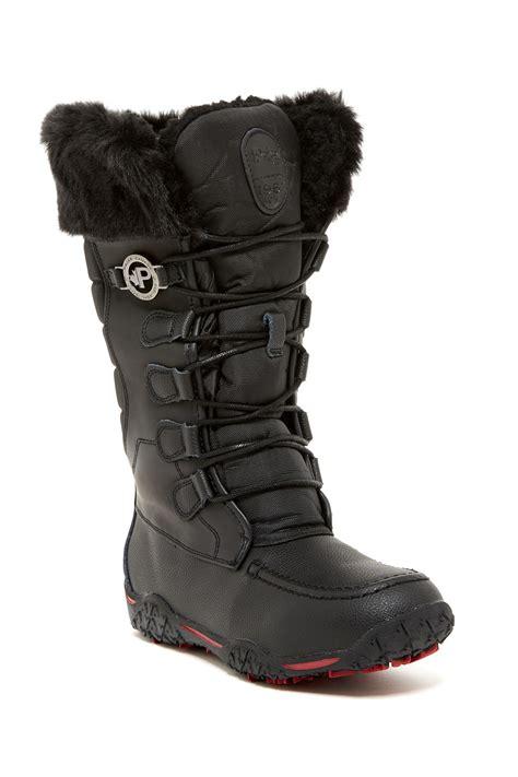 pajar fur boots pajar phyllis faux fur waterproof boot in black lyst