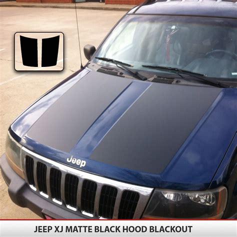 blackout hood decal matte black  install kit fit jeep