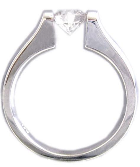 14k white gold cut engagement ring tension