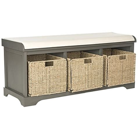 grey entryway storage bench safavieh american home collection lonan grey and white