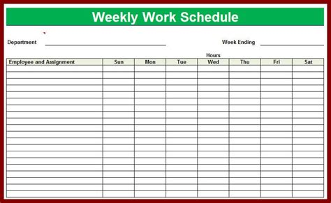 Weekly Work Schedule Template Impression Snapshot Employee Excel Blank Printable Schedules Sle Work Schedule Template