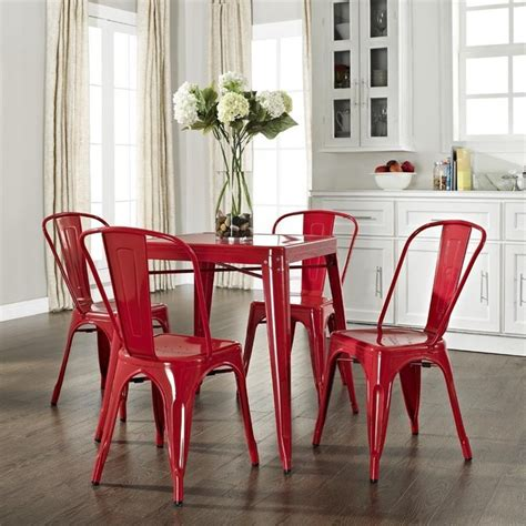 industrial kitchen table and chairs crosley amelia five metal cafe dining set