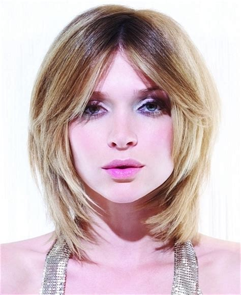 long bob for heavy face glam heavy layered medium hairstyles