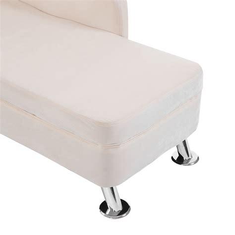 plush chaise lounge homcom 62 quot plush chaise lounge chair cream white