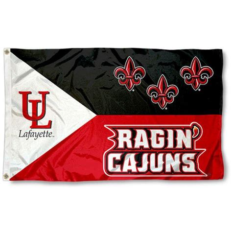 ul lafayette ragin cajuns acadian flag and valley flag for louisiana state tigers