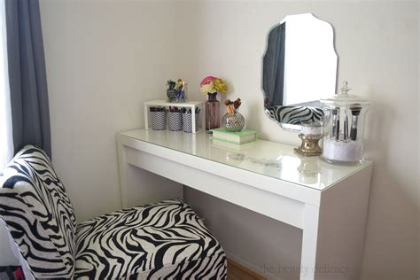 Glass Top Bedroom Vanity by Wall Mount Mirror Pattern With Simple White Makeup