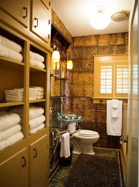 Bathroom Wainscoting Ideas repurposed old tin ceiling tiles used as wallpaper
