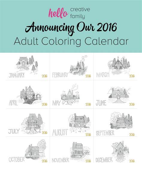 printable calendar 2015 creative hello creative family s 2016 adult coloring calendar