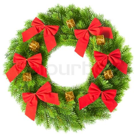 Model Home Decorations green round christmas wreath on white background stock