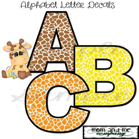 4 Letter Words Jungle 4 precut animal print alphabet letter wall decal boy