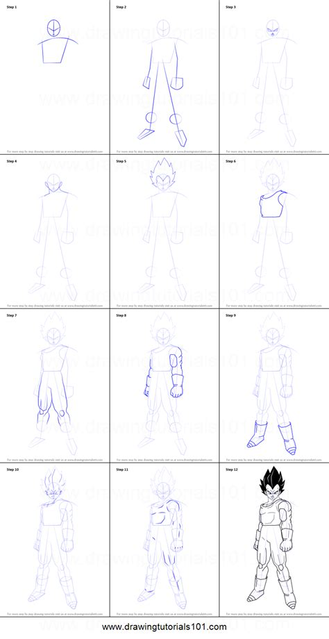 Drawing Step By Step by How To Draw Vegeta From Z Printable Step By