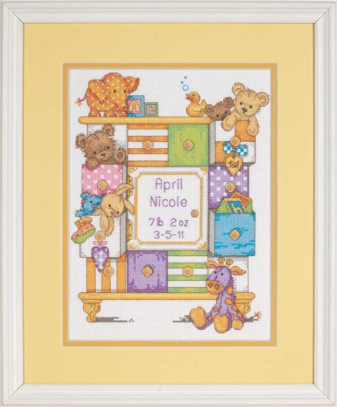 Counted Cross Stitch Birth Record Baby Drawers Birth Record Cross Stitch Dimensions D73538