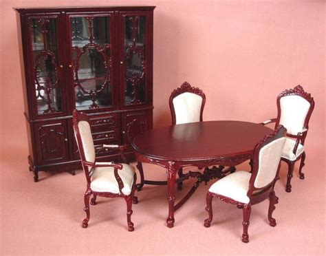 dollhouse miniature mahogany ornate dining room furniture set
