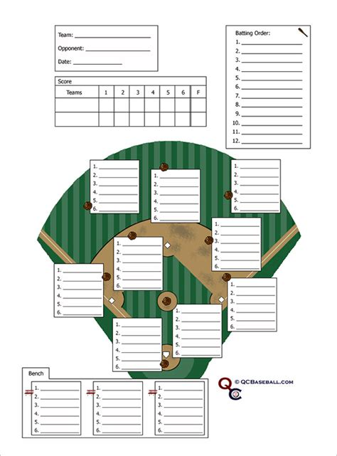 baseball roster template baseball line up card template 10 free printable sle
