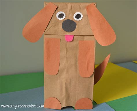 Paper Bag Puppets - crayons and collars with and pets easy paper