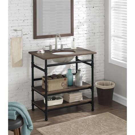 Pedestal Sink With Cabinet 36 Inch Industrial Open Shelf Vanity Free Shipping Today