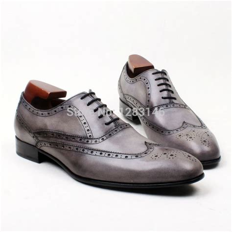 mens grey oxford shoes buy free shipping handmade genuine calf