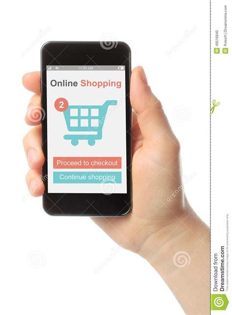 Smart Phone Smart Shopping by Holding Smart Phone With Shopping Concept Stock