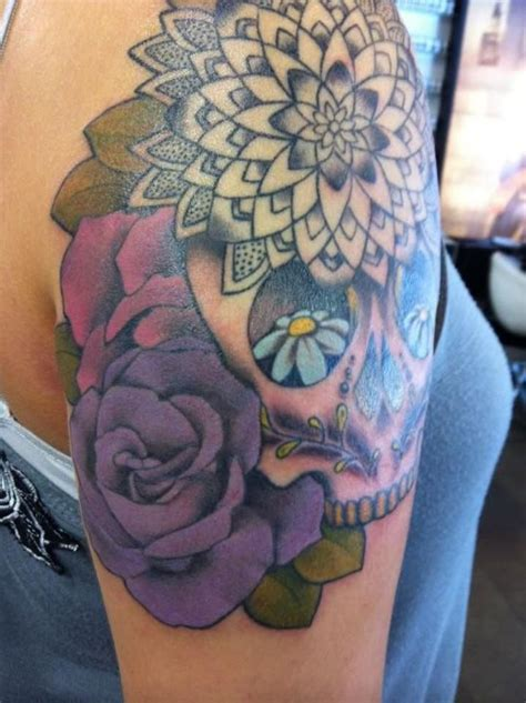 mandala tattoo artist toronto mandala with sugar skull and flowers done by hania fy