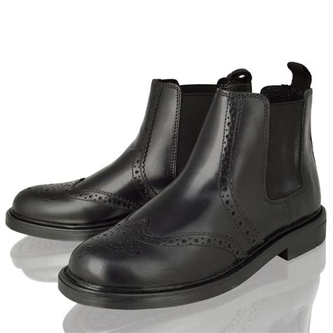 boys real leather chelsea dealer brogue ankle boots