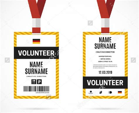volunteer card template id card template 29 free psd vector eps png format