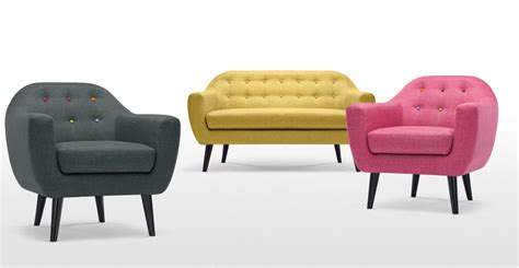 ritchie armchair in pink with rainbow buttons made