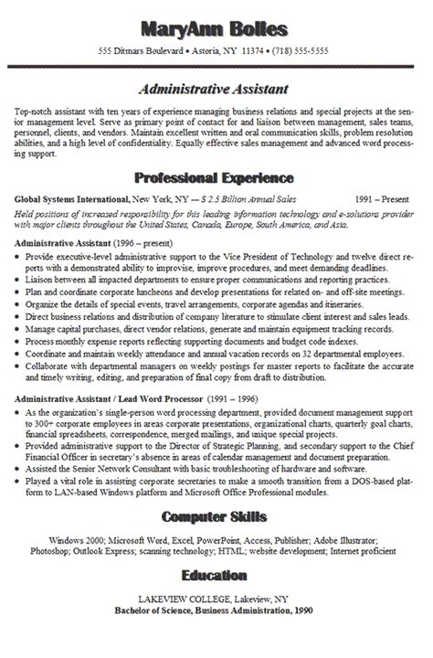 administrative assistant resume exle administrative