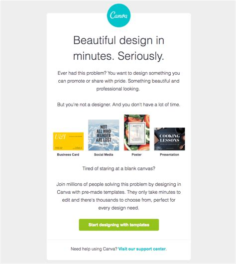 5 Design Tips For A Better Getting Started Email Caign Canva Email Template