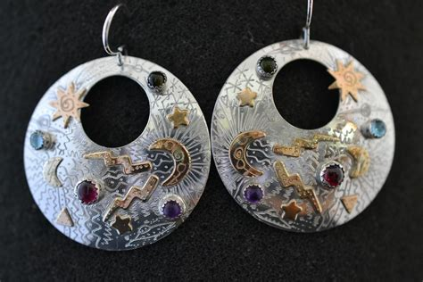 handmade sterling silver and 14k gold fill earring