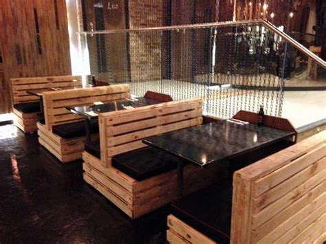 Low Cost Restaurant Interior Design by Pallet Made Restaurant Furniture Pallet Wood Projects