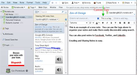 like evernote but better screenshot of evernote feature in pictures