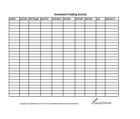 investment stock trading journal spreadsheet journals