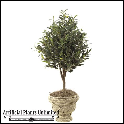 Artificial Topiaries - 3 artificial olive tree topiary indoor