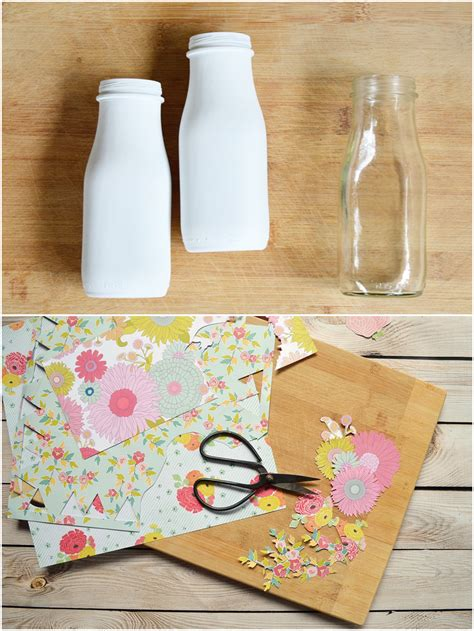 Spray Decoupage - two shades of pink decoupage and painted milk bottles
