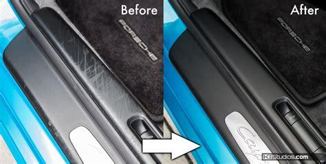 porsche before and after porsche 987 cayman door sill trim scuff covers ki studios