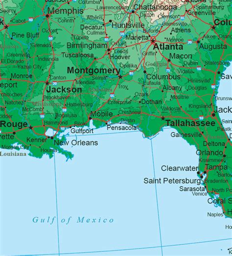 map louisiana alabama florida south map region area