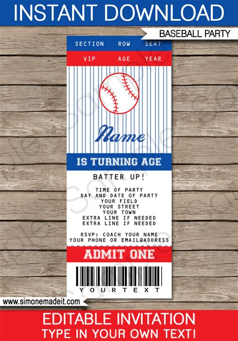 printable tickets invitations baseball ticket invitation template baseball invitations
