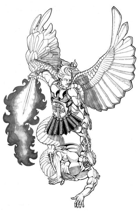 good angel tattoo designs vs evil design