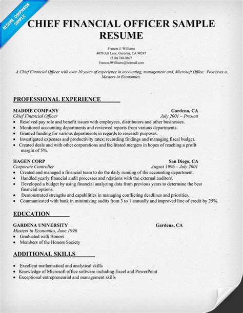 cfo sle resume chief financial officer resume design bild
