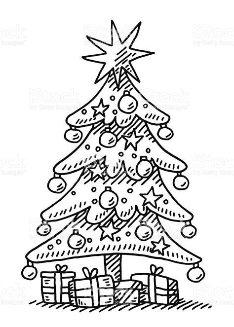 printable black and white christmas tree drawn christmas ornaments christmas star pencil and in