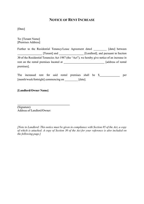 Rent Increase Letter Template Ireland Best Photos Of Rent Increase Document Rent Increase