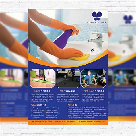 cleaning services premium business flyer psd template