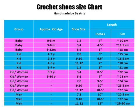 slipper size chart crochet slipper size chart 28 images 1000 ideas about