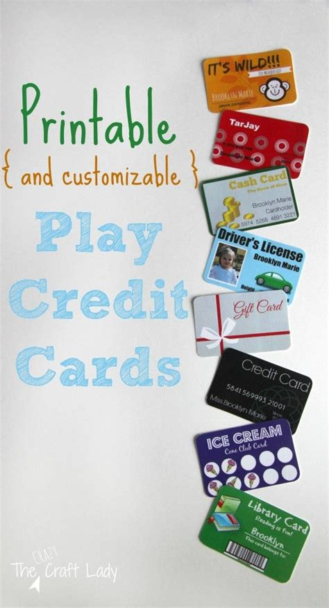 Pretend Credit Card Template by Printable And Customizable Play Credit Cards Plays