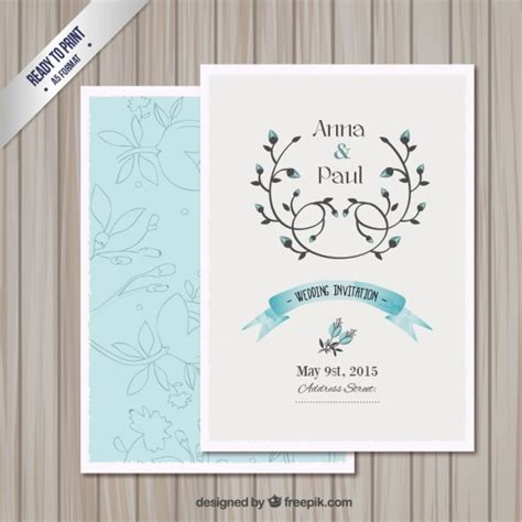 wedding invitation card template vector free